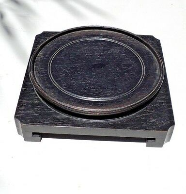 """Vintage Chinese Wood Stand Base For Vase Or Bowl 7"""" Diameter Circle 8"""" Square"""