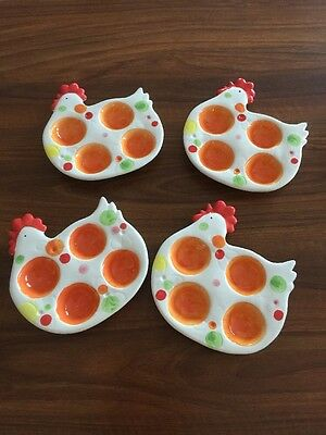 4 Pretty Little Egg Dishes In Shape Of Chicken