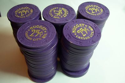 Box Of 100  Original Obs. Older Nugget 25 Cent Carson City Nv   Casino Chips