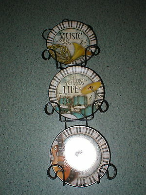 """3 Plate Hanger Wall Display Wrought Iron W/music Saying 4"""" Plates"""