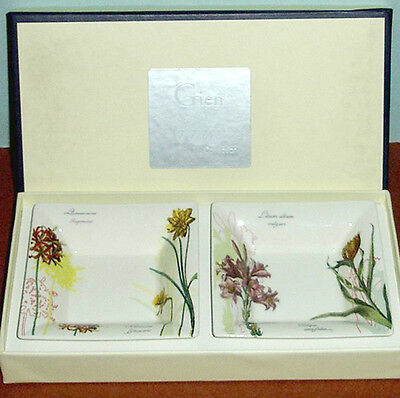 Gien L'Herbier du Roy Square Candy Tray Set of 2 New In Box
