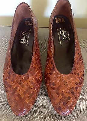 "Vintage Woven Tan Leather ""Dover""  Spanish Shoes - Size 36"