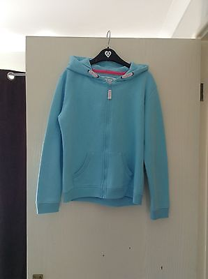 Girls Blue Zip Up Hoodie/sweatshirt 10 - 11 Years