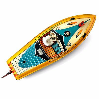 Vintage Arnold Tin Plate Tinplate Clockwork Speedboat Boat Ship Toy with Figure
