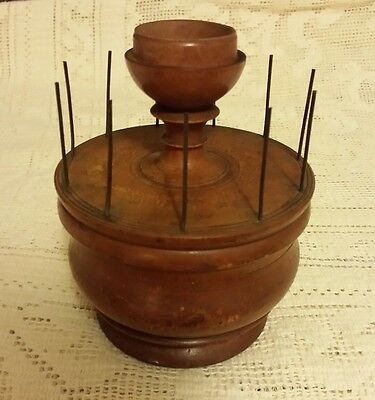 Antique 2PC WOODEN LATHE TURNED TREENWARE Sewing Spool Pins NEEDLES Caddy UNIQUE