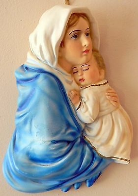 Vintage Hand Painted Chalkware Wall Plaque of The Virgin Mary & Baby Jesus