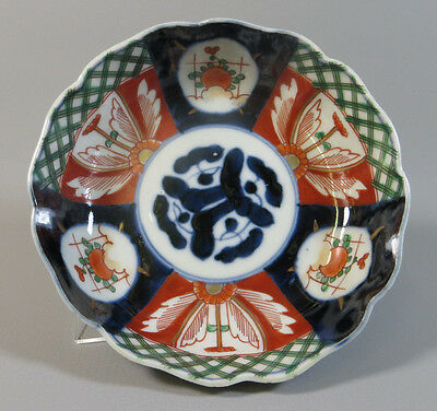 "Antique Japanese Imari Porcelain 6"" Fluted Bowl w/ Cobalt Center -Meiji/Taisho"