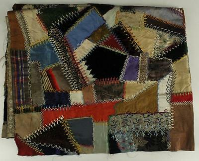 "Antique 1915 TEXTILE Crazy Quilt Stitched Top 72"" X 49"" AS IS Cutter Craft"