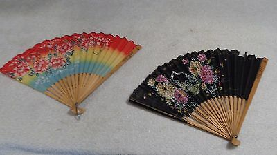 Vintage 2 Lot Hand Held Advertising Folding Fan Wenona Il. Hardware ~ Japan