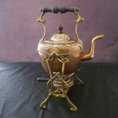 Very Attractive Antique Art Nouveau Copper Kettle & Burner. c.1900