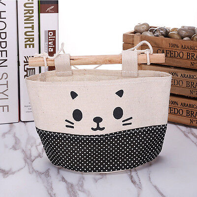 New Cotton Cartoon Cat Hanging Storage Bag Debris Pouch Wall  Combination