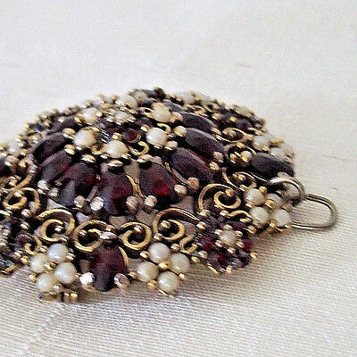 Antique ruby amber stones pearls pin brooch vintage pendant jewelry necklace
