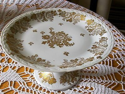 Porcelain De France Gold Rose CAKE Stand  Hand Painted GOLD & WHITE floral desig