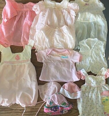Vintage Baby Girls Clothing LOT 1980's Over 35 Pcs Sizes Newborn To 2T Mixed Szs