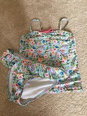 Next floral tankini age 4 - blue pink swimsuit bikini top bottoms new condition