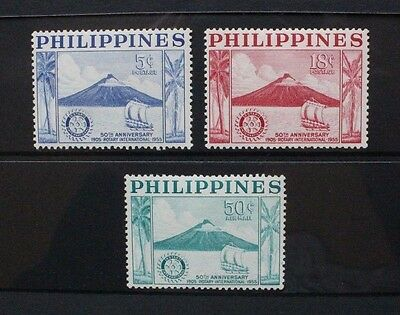 PHILIPPINES 1965 Rotary International Volcano. Set of 3. Mint HINGED. SG774/776.