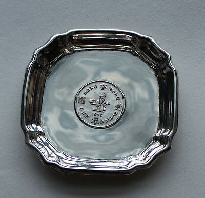 Beautiful Hong Kong 1975 One Dollar Coin Sterling Silver Dish With Marked
