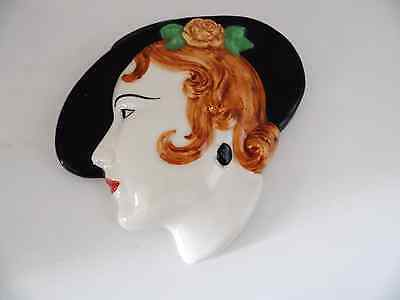 Art-Deco Style  Wall/face Mask Lady In Hat  Moorland Pottery