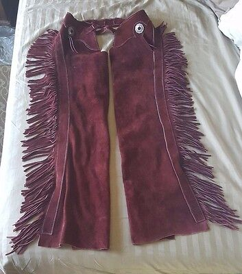 Womans Custom Made Suede Leather Show Chaps Sterling Conchos Fringe  Burgundy