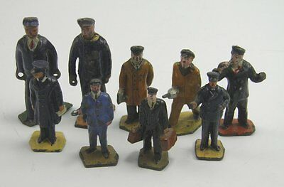 Collection of 9 Dinky toys diecast model railways staff & other figures