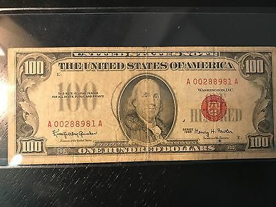 1966 $100 United States Note - Red Seal - Lower Grade