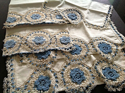 Antique Bridal Trousseau Tatted/Tatting LACE PILLOWCASES & Scarves Heirloom Mint