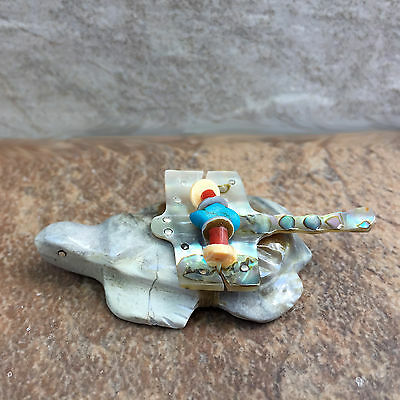 Zuni Fetish-Native American-Stone Totem Animal-Zuni Carving-TURTLE w/Dragonfly