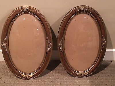 Two Antique Victorian Large Ornate Oval Shaped Picture Frames with Bubble Glass