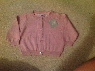 NEW WITH TAGS Next Baby Pink Cardigan 3-6 months