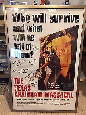 Texas Chainsaw Massacre cast signed movie poster