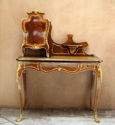 "Magnificent 19C Louis Xv. French Cartonnier Commode Wooden Bronze Desk ""must See"