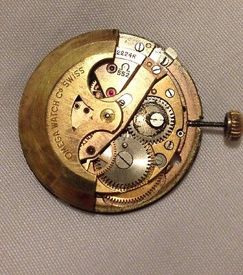 Omega 552 Watch Movement. Non Working/For Parts Or Repair