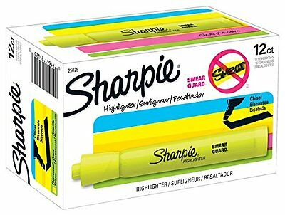 Sharpie, Chisel Tip, Tank Style, Highlighter, Yellow, 12 Pack (25025)