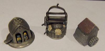 PEWTER TRINKETS/THIMBLES Clothes Mangle Water Mill & Weather House Nice