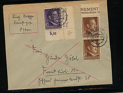 Poland  German Govt   Hitler stamps on cover   1943        KEL0322