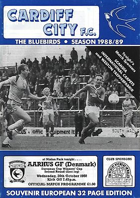 1988/89 Cardiff City v Aarhus, ECWC, PERFECT CONDITION
