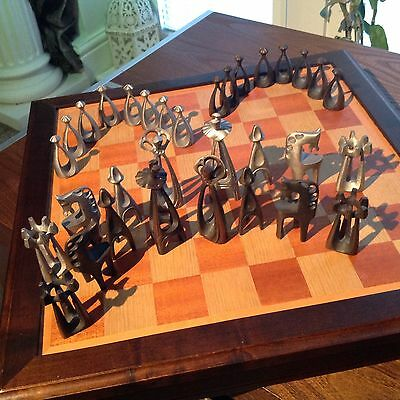 Abstract Cast Metal Modernist Sculptured Chess Pieces & Storage Game Board