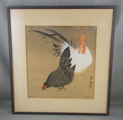 """Antique Vintage Chinese Watercolor Of Roosters On Paper Signed Art 8 3/4"""" x 9"""""""