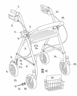 Drive Rollator Model 10257 Replacement Parts