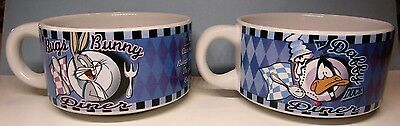Set of 2 Bugs Bunny & Daffy Duck Diner Soup Bowls Looney Tunes 1998 Warner Bros.