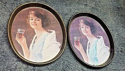 Two Vintage Coca Cola Serving Trays With Women Holding A Coke