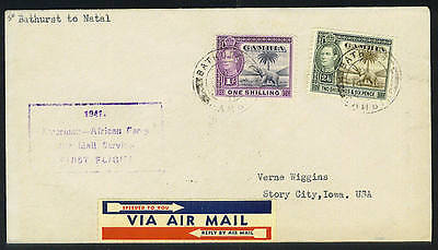 Gambia 1941 First Flight Franked Shilling Values Of