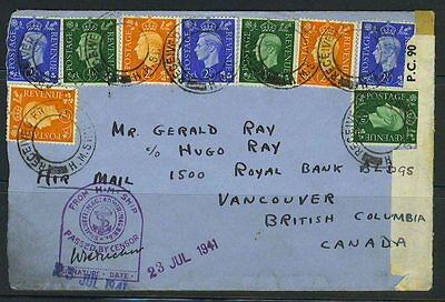 Gb-Uk 1941 Censored From H.m. Ship To Canada Undated Circular Official Cancels