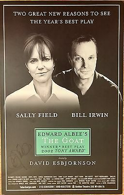 Sally Field Signed Edward Albee's The Goat Broadway Poster Window Card