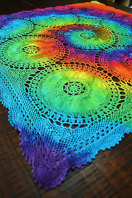 Tie Dye Rainbow Vintage Crochet Cotton Lace Doily Table Runner Tablecloth R584