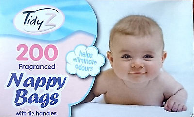Tidy Z Disposable Tie Handle Nappy Bags Fragranced Scented Baby Changing