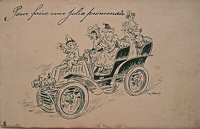 Postcard-Comic.a Ride Along The Promenade.early Vintage Vehicle.undivided Back