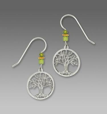 Sienna Sky Earrings Sterling Hook Silver Tree of Life in Disc Handmade in USA