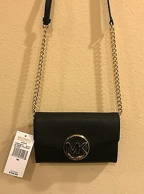 NWT Michael Kors MK Hudson Large Phone Crossbody Clutch Purse Wallet Black