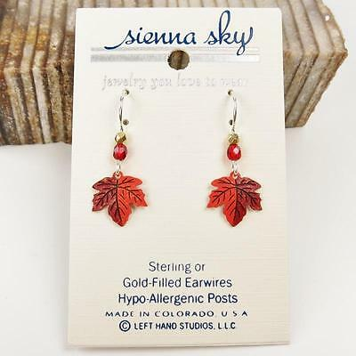 Sienna Sky Earrings 925 Sterling Silver Hook Handpainted Small Maple Leaf 10263